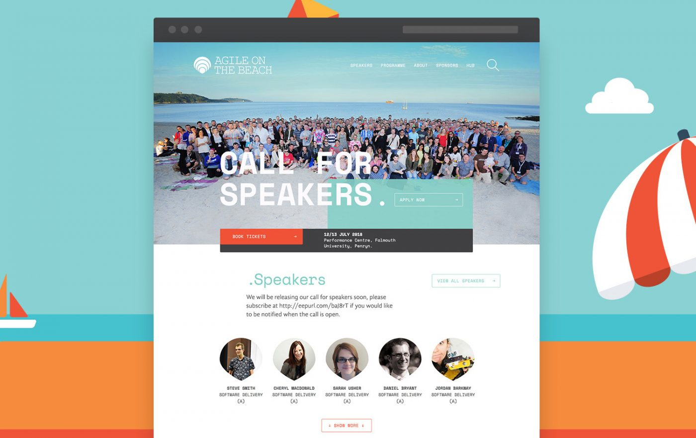 conference website design agile on the beach